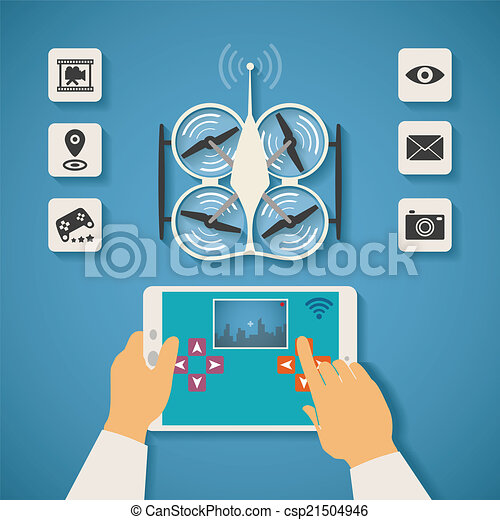 Vector Concept Of Quadcopter Air Drone Control On Tablet Pc
