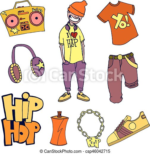 Vector, concepto, coloreado, items., aislado, hip-hop., conjunto ...