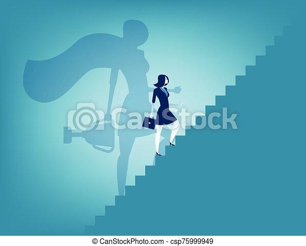 vector, concepto, illustration., success., escalera, empresa / negocio, mujer de negocios - csp75999949