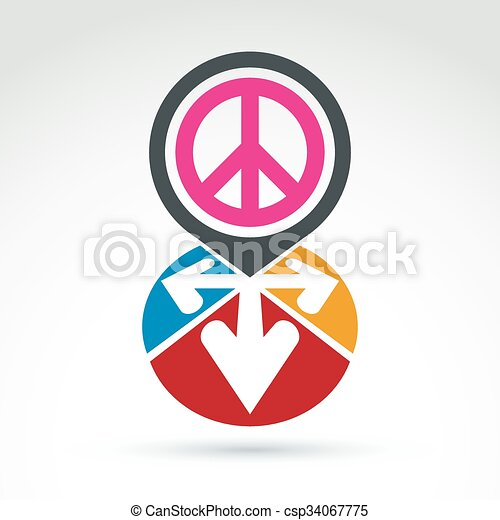 Vector Conceptual Love And Peace Sign Colorful Arrows In The Shape