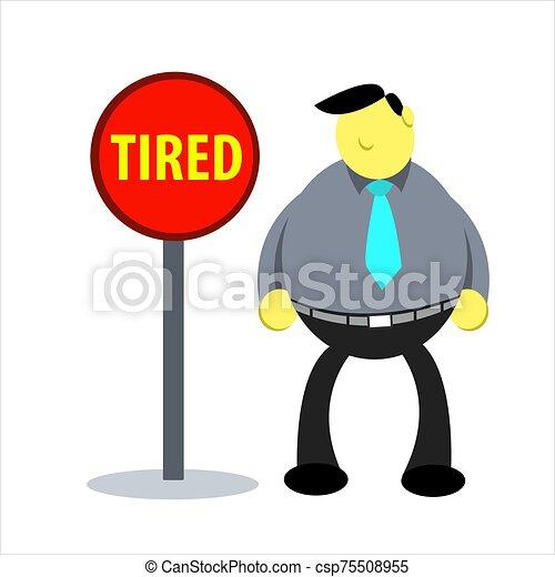 vector, condición, bloqueado, ilustration, trabajador, cansado - csp75508955
