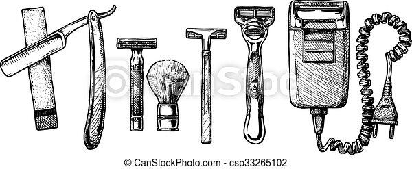 Ilustración de vectores de accesorios de afeitar - csp33265102