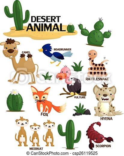 Ilustracin vectorial de vector conjunto animal del desierto