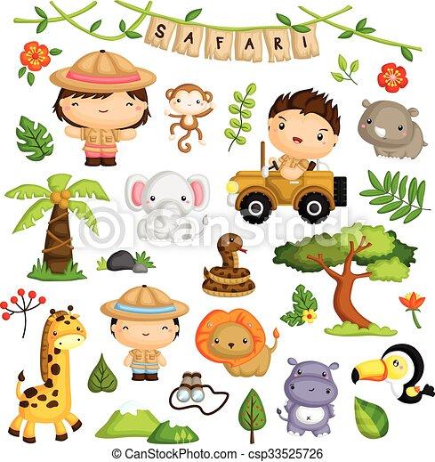 Niños Safari y vector de animales listos - csp33525726