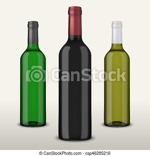 Pon 3 botellas de vector realistas de vino sin etiquetas aisladas en fondo blanco. Diseño de plantilla en EPS10. - csp46285216