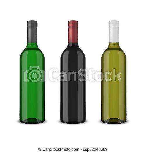 3 botellas de vector realistas de vino sin etiquetas aisladas en fondo blanco. Diseño de plantilla en EPS10 - csp52240669