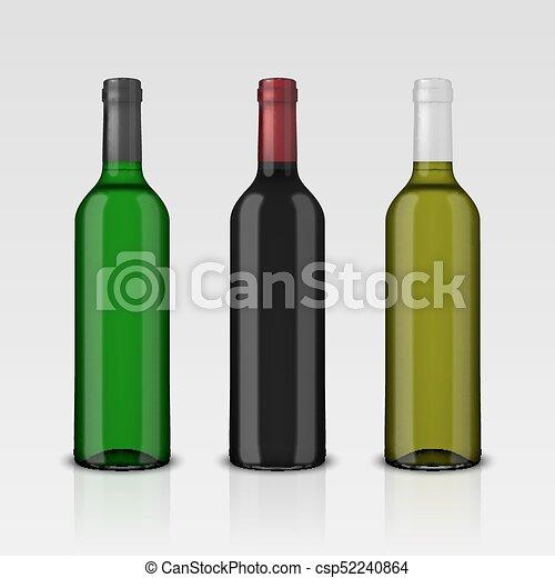 3 botellas de vector realistas de vino sin etiquetas aisladas en fondo blanco. Diseño de plantilla en EPS10 - csp52240864