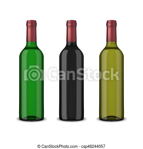 Pon 3 botellas de vector realistas de vino sin etiquetas aisladas en fondo blanco. Diseño de plantilla en EPS10. - csp46244057