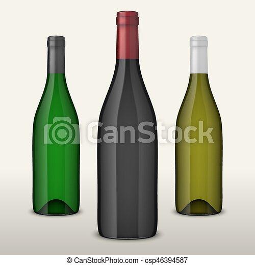 Tres botellas de vino vector realistas sin etiquetas aisladas en fondo blanco. Diseño de plantilla en EPS10. - csp46394587