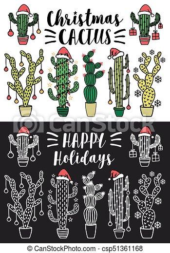 Cactus de Navidad, vector fijado - csp51361168