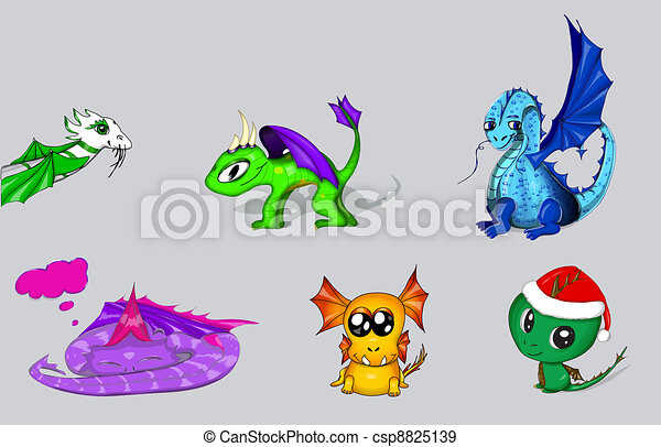 Vectores de dragones de caricatura - csp8825139