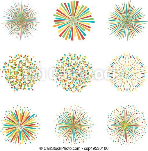 Vector Conjunto Colorido Fuegos Artificiales Ilustracion Plano