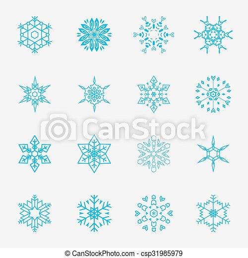 Vector de copos de nieve - csp31985979