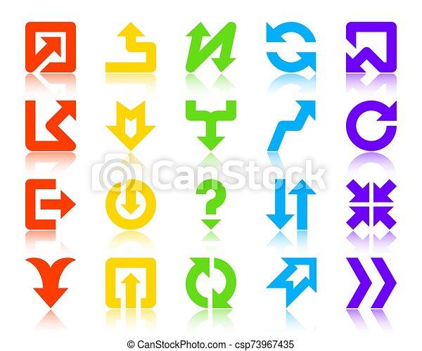 vector, conjunto, iconos, silueta, flecha, color flecha - csp73967435