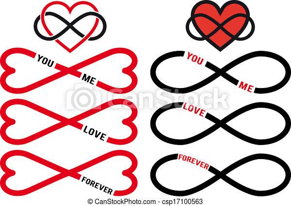 Corazón rojo infinito, vector fijado - csp17100563