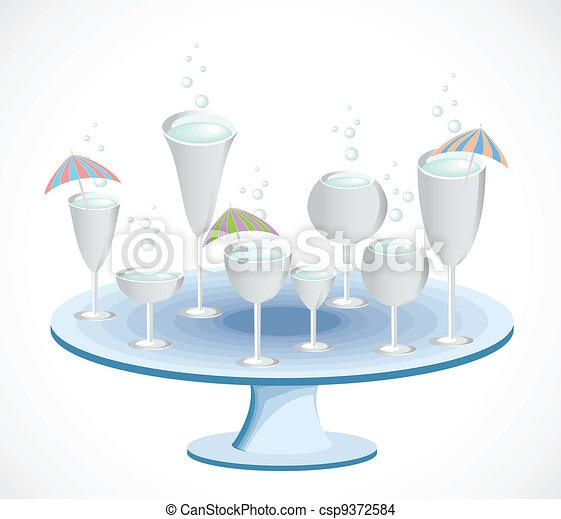 Un par de copas en una mesa. Vector - csp9372584