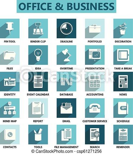 Oficina y iconos de negocios establecen vector - csp61271256