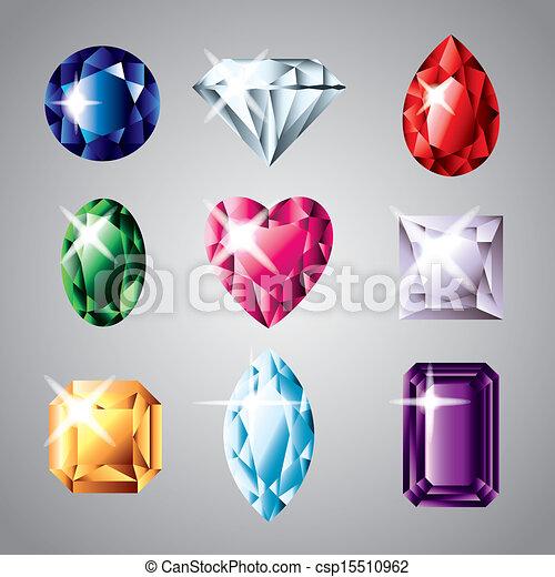 07faed975542 vector, conjunto, piedras preciosas, diamantes