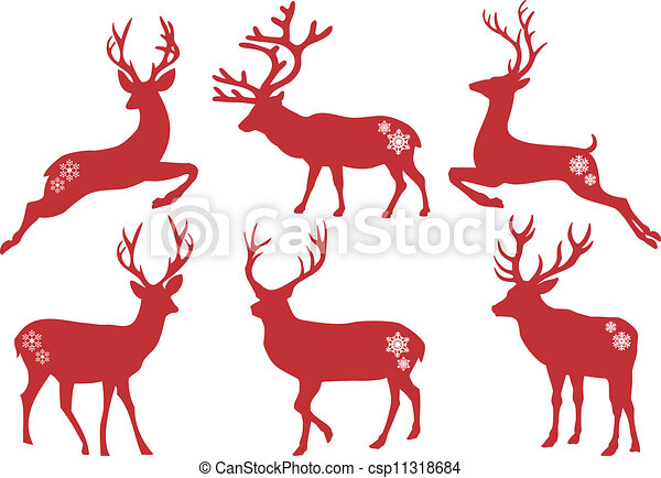 Vector Conjunto Venado Navidad Ciervos Conjunto Siluetas - Ciervo-navidad
