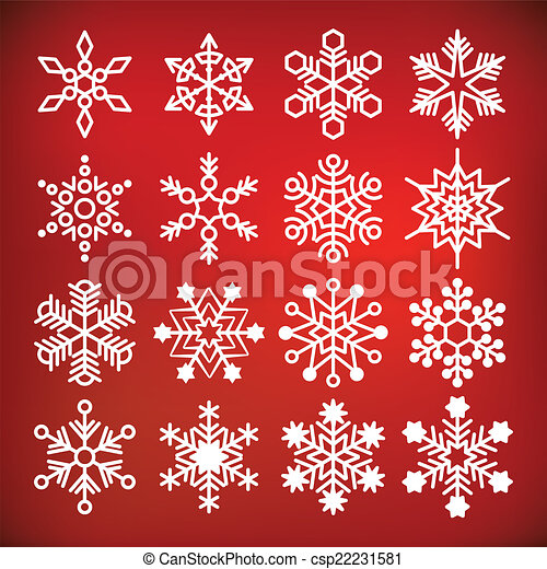 Colección de copos de nieve Vector - csp22231581