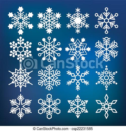 Colección de copos de nieve Vector - csp22231585