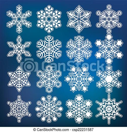 Colección de copos de nieve Vector - csp22231587