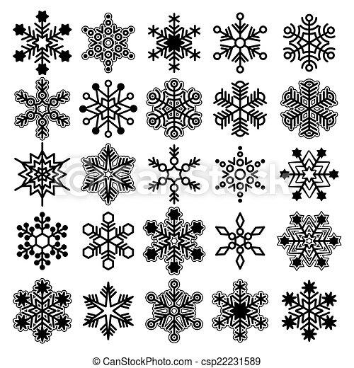 Colección de copos de nieve Vector - csp22231589