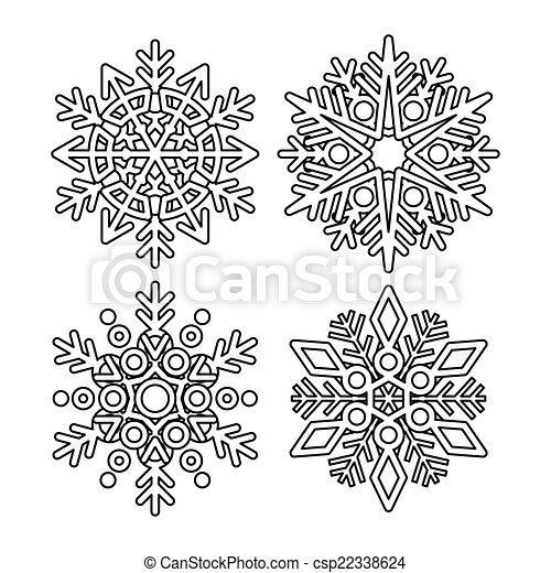 Colección de copos de nieve Vector - csp22338624