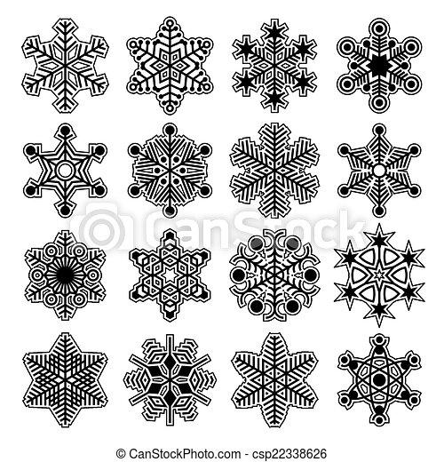 Colección de copos de nieve Vector - csp22338626