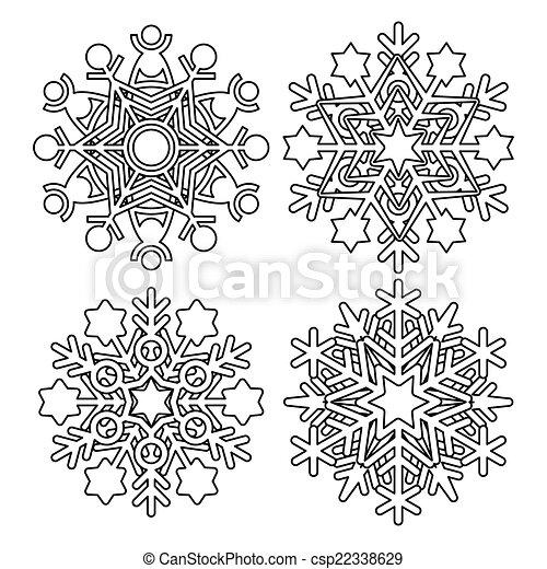 Colección de copos de nieve Vector - csp22338629