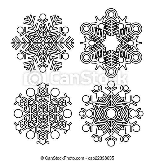Colección de copos de nieve Vector - csp22338635