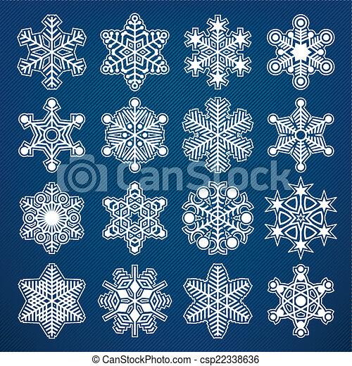 Colección de copos de nieve Vector - csp22338636