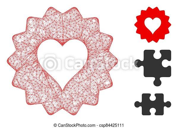 vector, corazones, muestra, tela, ilustración, malla, polygonal - csp84425111