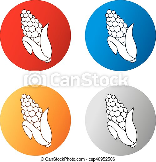 Vector corn free symbols isolated on white background. Silhouettes maize in a circle button. Red, blue, orange and silver icon. - csp40952506