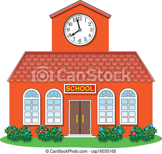 vector country school building vector illustration of country rh canstockphoto com clipart school building pictures free clipart pictures school buildings