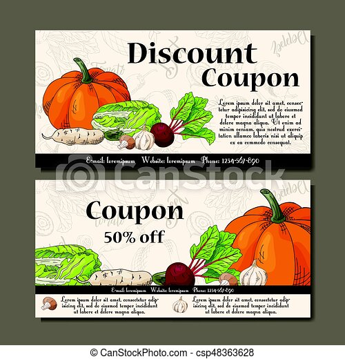 Vector coupon template with vegetables. Set of farmer banners with sketches. Illustration for voucher, label, card - csp48363628