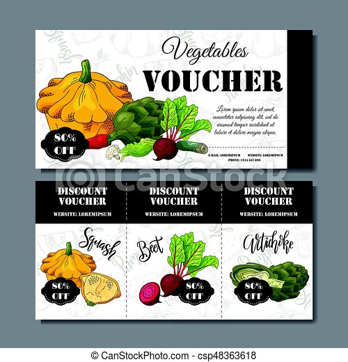 Vector coupon template with vegetables. Set of farmer banners with sketches. Illustration for voucher, label, card - csp48363618