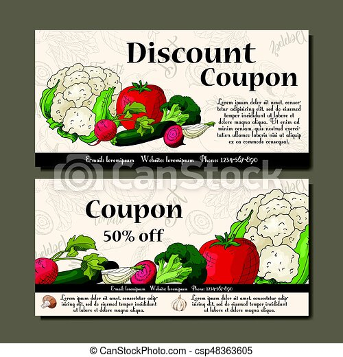 Vector coupon template with vegetables. Set of farmer banners with sketches. Illustration for voucher, label, card - csp48363605