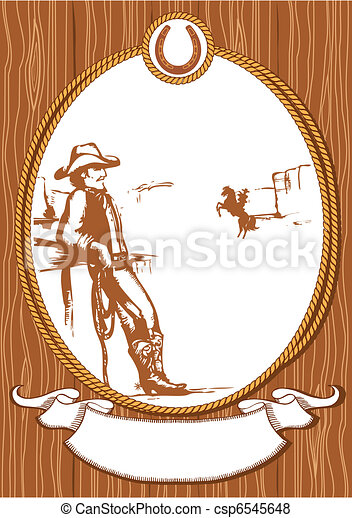 Vector cowboy poster background for design with rope frame - csp6545648