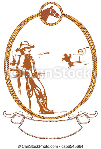 Vector cowboy poster background for design with rope frame - csp6545664