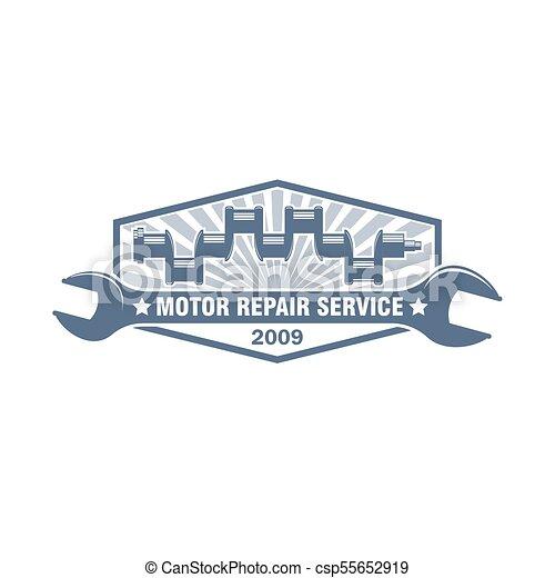 Vector crankshaft monochrome logo. Vector retro style monochrome car ...