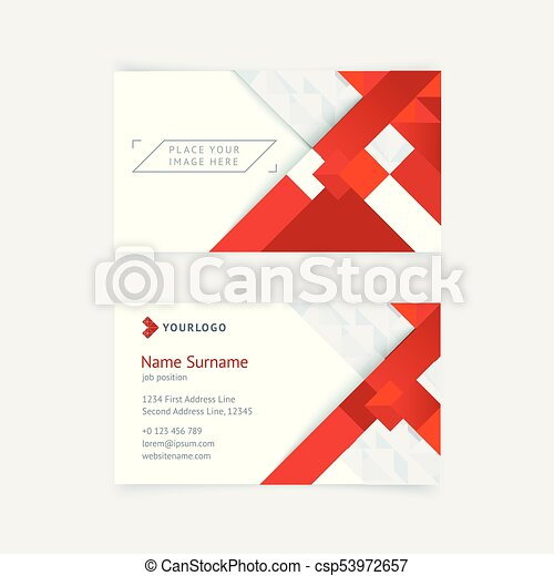 Vector creative business card template with red triangles squares vector creative business card template with red triangles squares for business technology simple and clean design with a logo and a place for a photo reheart Gallery