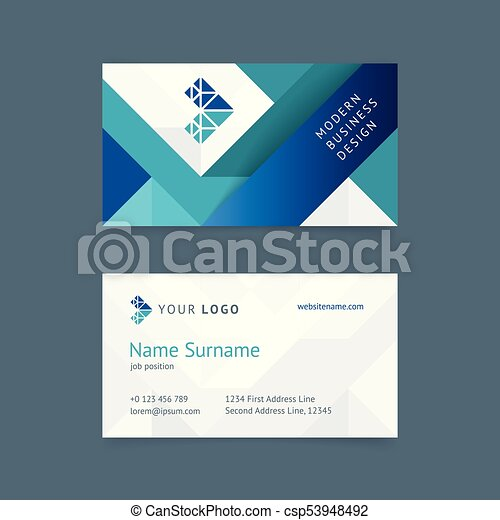 Vector Creative Business Card Template With A Turquoise And Blue Stripes Gray Textures For Business Construction Technology Simple And Clean
