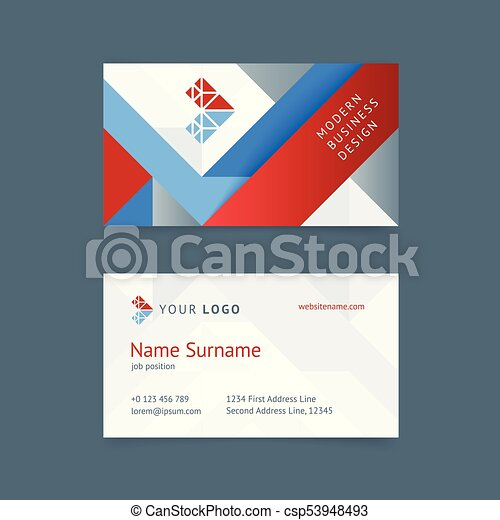 Vector creative business card template with red and blue stripes vector creative business card template with red and blue stripes gray textures for business construction technology it simple and clean design with a reheart Gallery