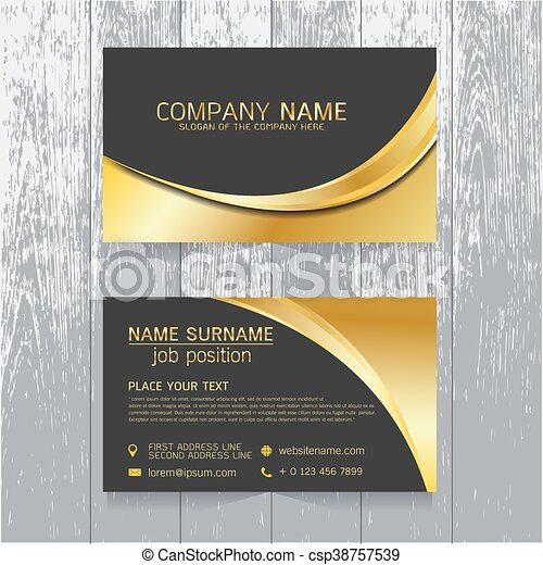 vector creative leaf business card gold and black design of text on wood background - Business Card Background