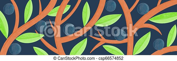 Vector creative long background with abstract leaves, fruits, branches. Illustration is stylized as color pencil drawing - csp66574852