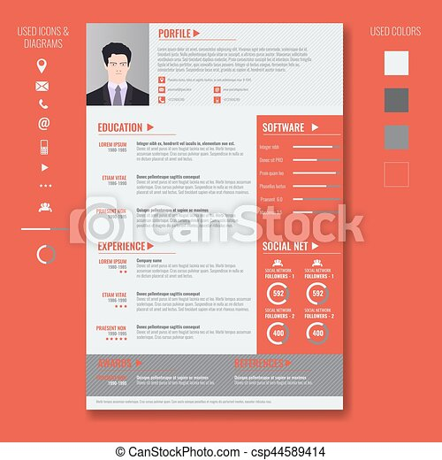vector creative minimalist cv resume template with two pages vector