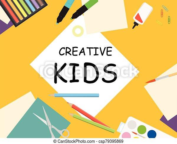 vector, creativo, mesa., papel, sketching., niños, corte, laboratorio, vista, ilustración, cima, pintura - csp79395869
