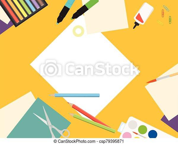 vector, creativo, mesa., papel, sketching., niños, corte, laboratorio, vista, ilustración, cima, pintura - csp79395871