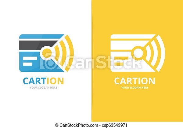 Vector credit card and wifi logo combination. Gift and signal symbol or icon. Unique discount and radio logotype design template. - csp63543971